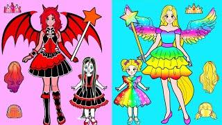 Paper Dolls Dress Up 🔴 Angels Rainbow Rapunzel vs Daughter & Mother Dress 🔴 Barbie Story & Crafts